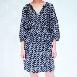 GAP Navy Print Peasant Sleeve Smock Dress S